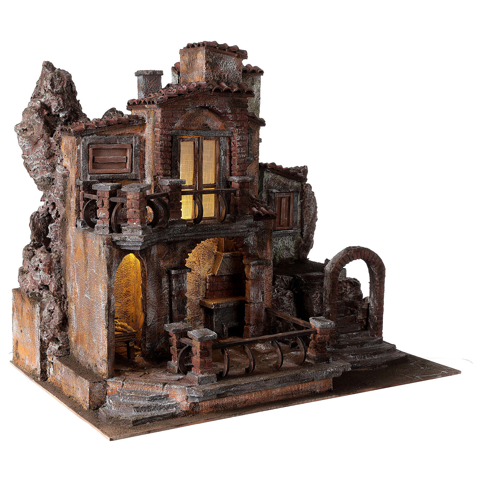 Borgo presepe tradizionale con luce 50x60x40 cm per statue 12 cm 4