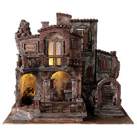 Borgo presepe tradizionale con luce 50x60x40 cm per statue 12 cm s1