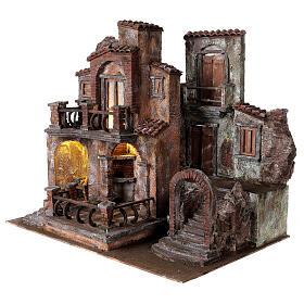 Borgo presepe tradizionale con luce 50x60x40 cm per statue 12 cm s3
