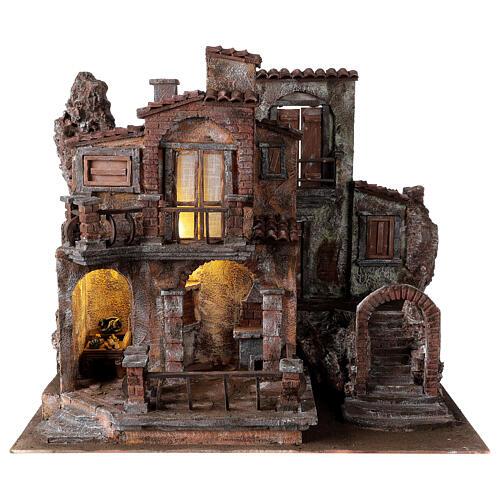 Borgo presepe tradizionale con luce 50x60x40 cm per statue 12 cm 1
