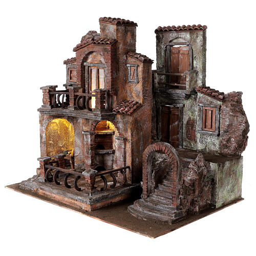 Borgo presepe tradizionale con luce 50x60x40 cm per statue 12 cm 3