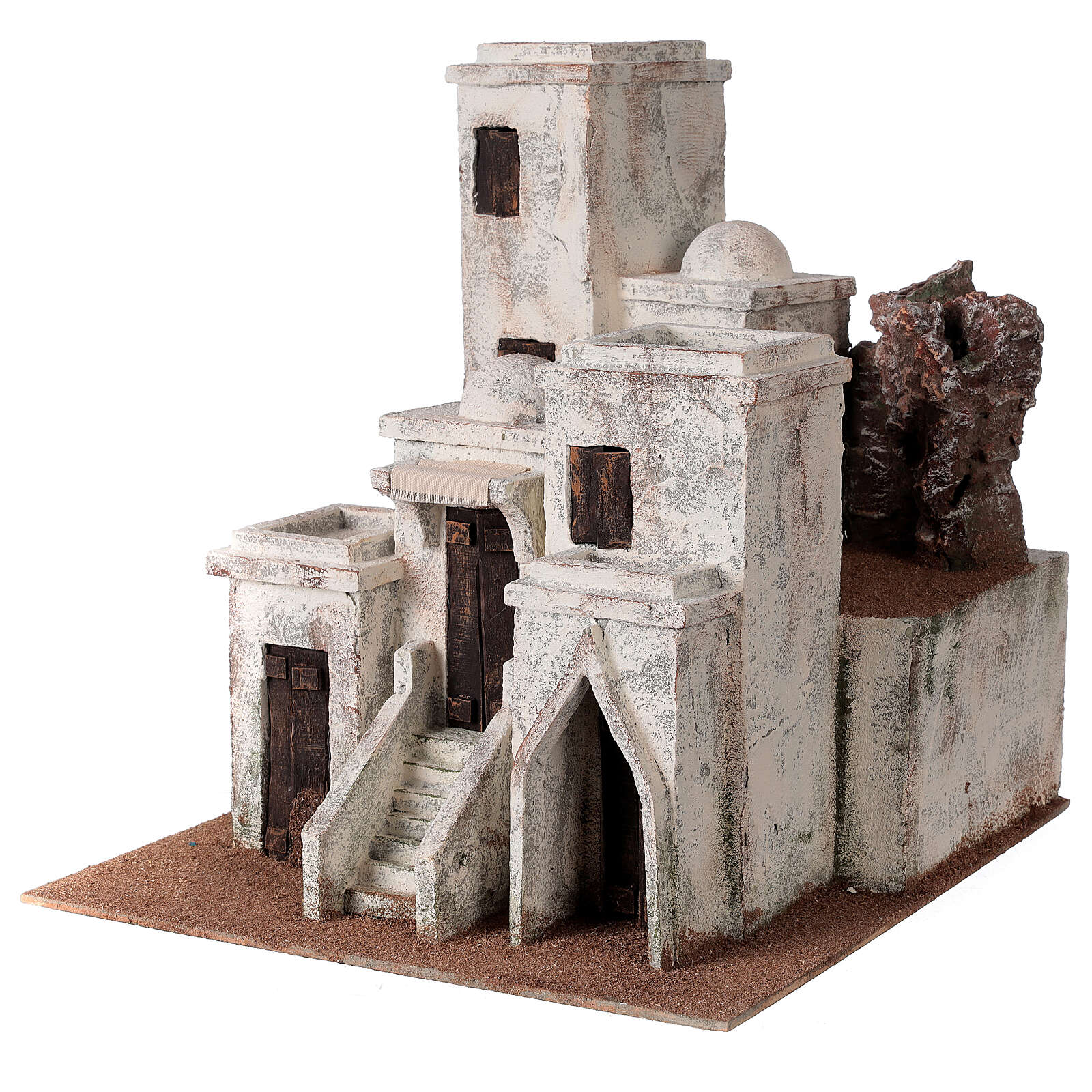 Traditional Nativity scene village with Arabic setting for 10 cm statues 4
