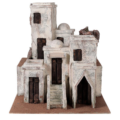Traditional Nativity scene village with Arabic setting for 10 cm statues 1