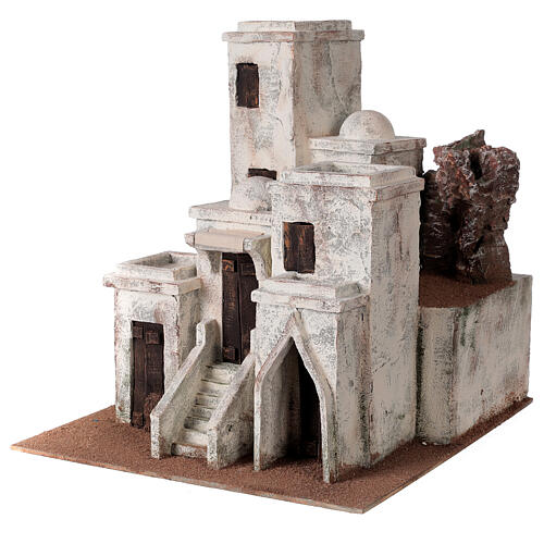 Traditional Nativity scene village with Arabic setting for 10 cm statues 2