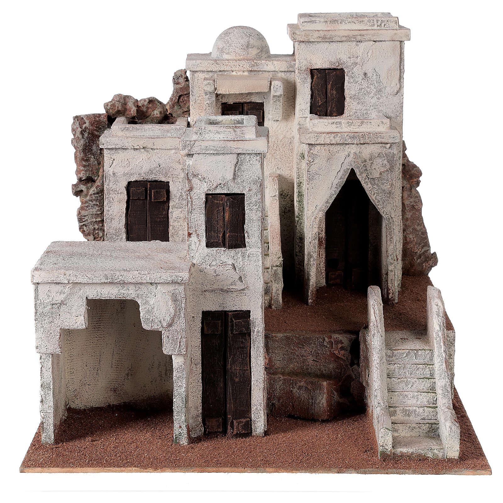 Village crèche décor arabe 34x36x40 cm pour santons 10 cm 4