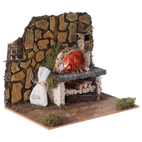 Forno legna elettrico eff fiamma presepe 15x20x15 cm figure 8-10 cm 3
