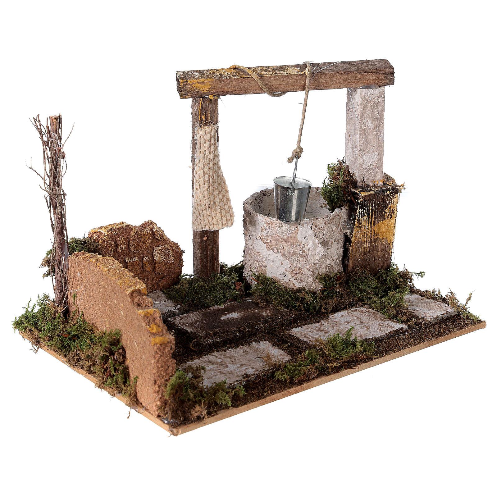 Well with bucket Nativity scene 15x20x15 cm 4