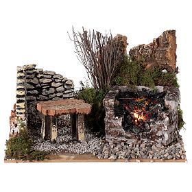 Electric fire effect 10x20x15 cm for Nativity scene s1