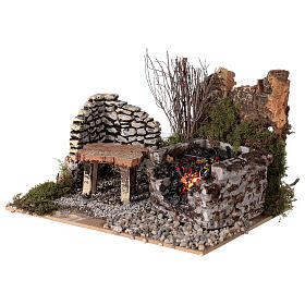 Electric fire effect 10x20x15 cm for Nativity scene s2