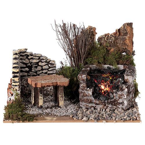 Electric fire effect 10x20x15 cm for Nativity scene 1