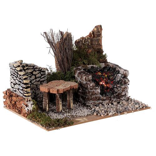 Electric fire effect 10x20x15 cm for Nativity scene 3