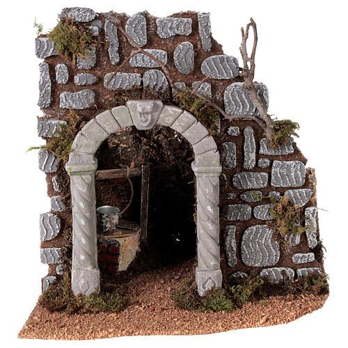 Arc avec puits crèche 25x25x20 cm santons 8-10 cm 1