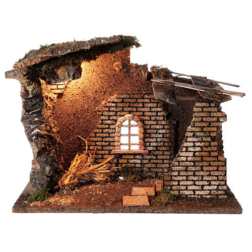 Hut with window with lights for Nativity scene 30x40x20 cm 1