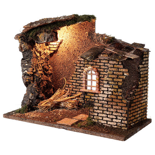 Hut with window with lights for Nativity scene 30x40x20 cm 2
