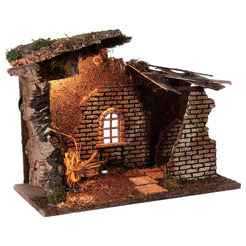 Hut with window with lights for Nativity scene 30x40x20 cm 3