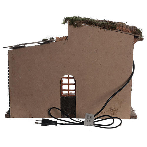Hut with window with lights for Nativity scene 30x40x20 cm 4