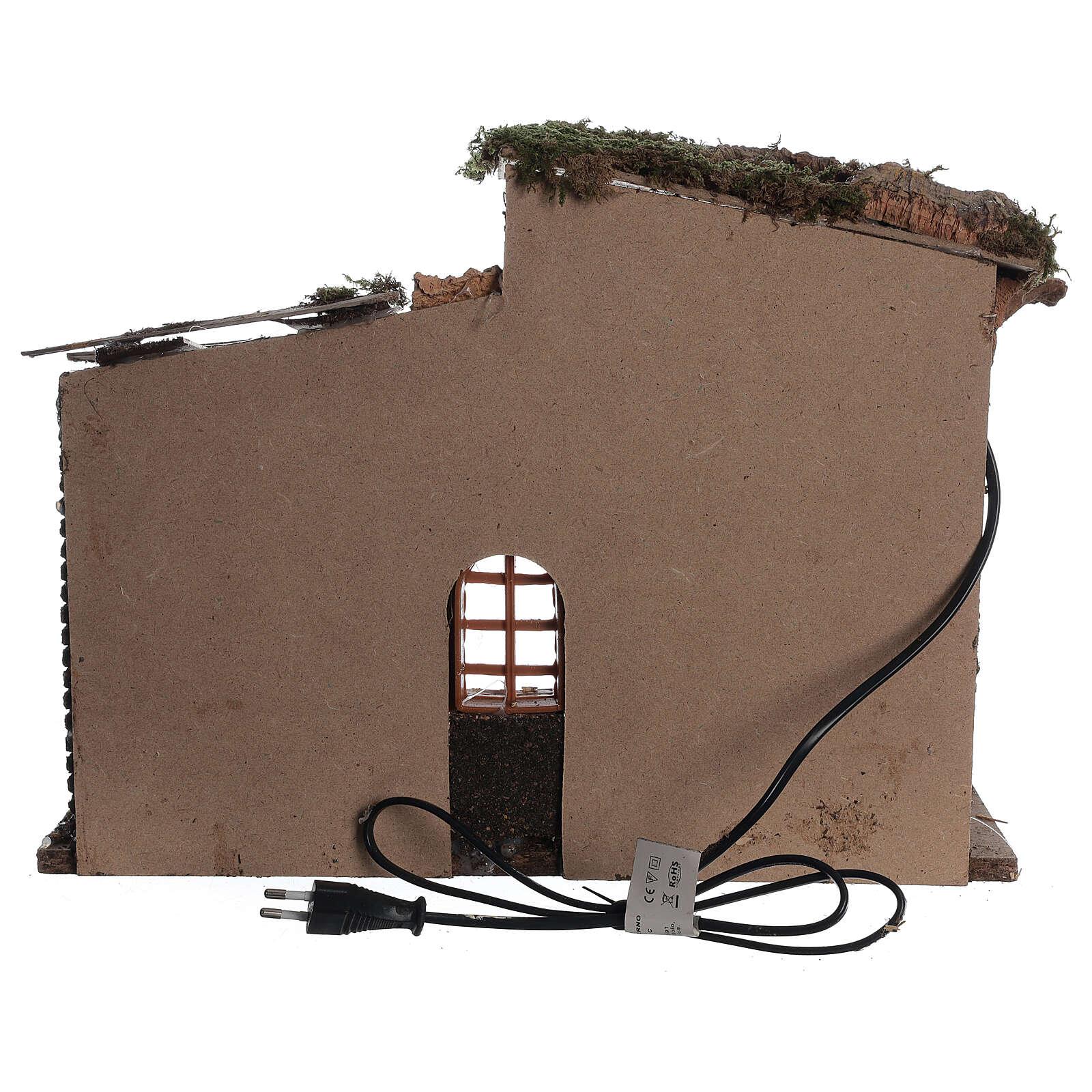 Cabane avec fenêtre et lumières crèche 30x40x20 cm santons 8-10 cm 4