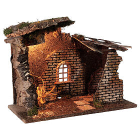 Cabane avec fenêtre et lumières crèche 30x40x20 cm santons 8-10 cm s3