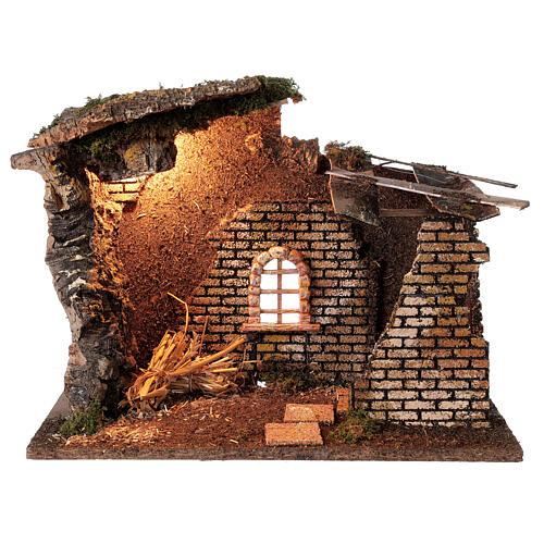 Cabane avec fenêtre et lumières crèche 30x40x20 cm santons 8-10 cm 1