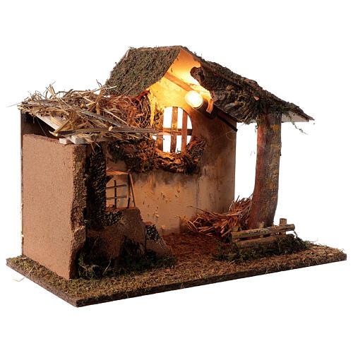 Hut with illuminated ladder 35x50x30 cm for 16 cm Nativity scene 4