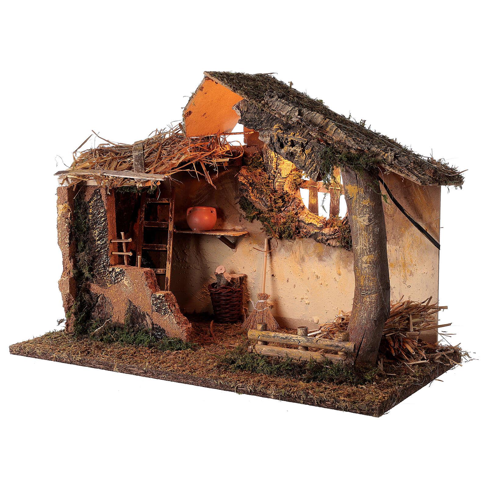 Cabane avec échelle éclairée 35x50x30 cm crèche 16 cm 4