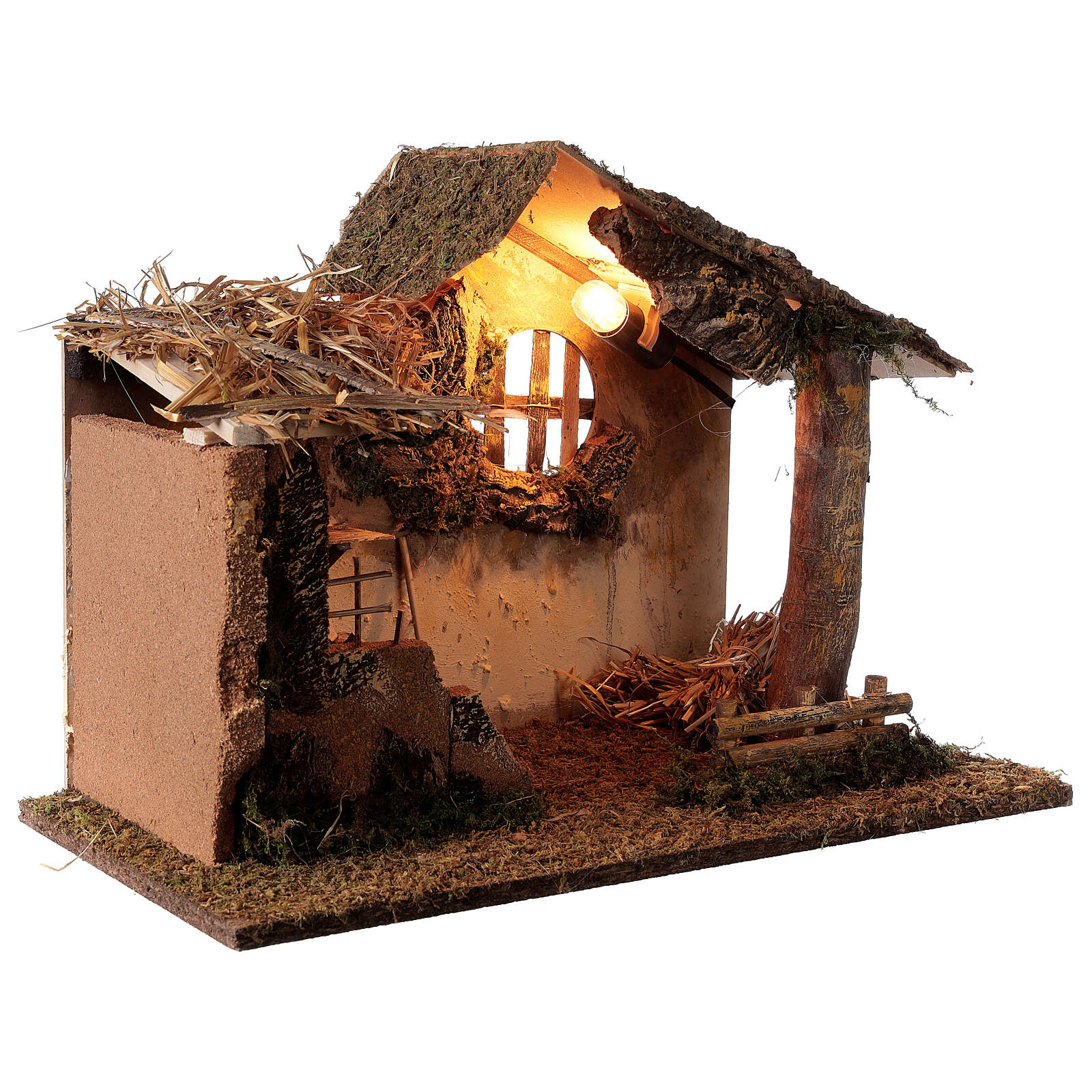 Cabana iluminada com escada e janela ambientação para presépio com figuras altura média 16 cm, medidas: 35x50x30 cm 4