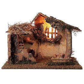 Cabana iluminada com escada e janela ambientação para presépio com figuras altura média 16 cm, medidas: 35x50x30 cm s1