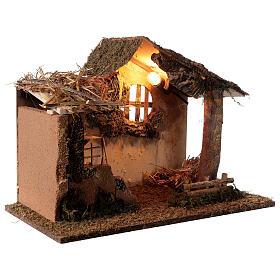 Cabana iluminada com escada e janela ambientação para presépio com figuras altura média 16 cm, medidas: 35x50x30 cm s4