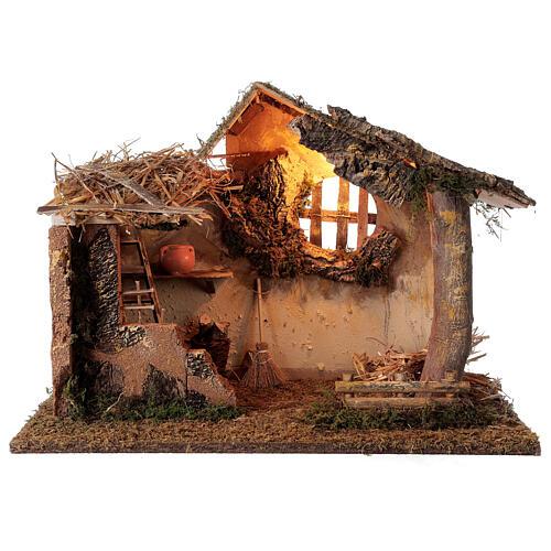 Cabana iluminada com escada e janela ambientação para presépio com figuras altura média 16 cm, medidas: 35x50x30 cm 1
