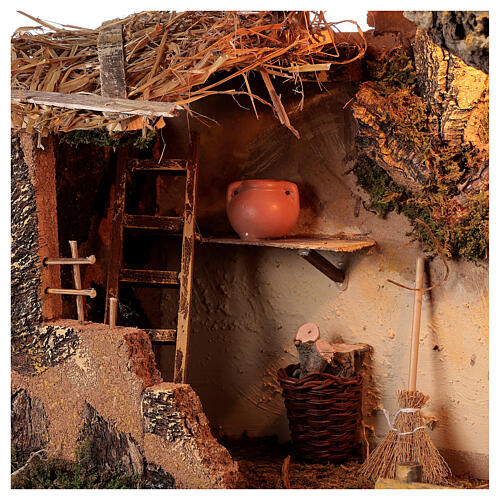 Cabana iluminada com escada e janela ambientação para presépio com figuras altura média 16 cm, medidas: 35x50x30 cm 2