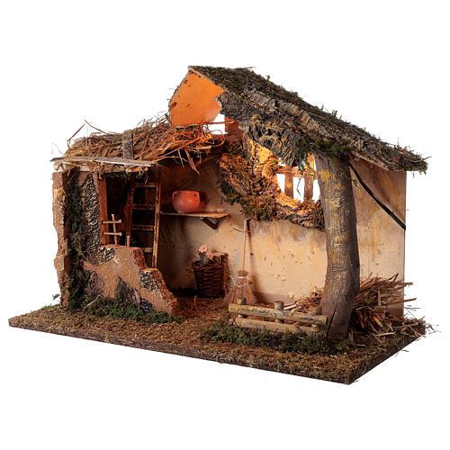 Cabana iluminada com escada e janela ambientação para presépio com figuras altura média 16 cm, medidas: 35x50x30 cm 3