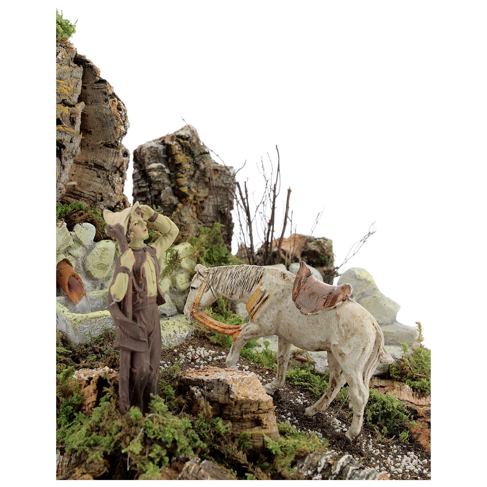 Ambientazione presepe fontana funzionante 21x24x21 cm statue 10 cm 4