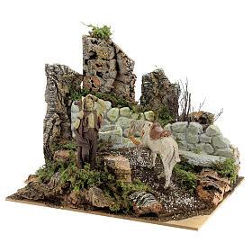 Ambientazione presepe fontana funzionante 21x24x21 cm statue 10 cm s3