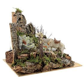 Ambientazione presepe fontana funzionante 21x24x21 cm statue 10 cm s4