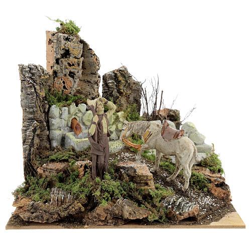Ambientazione presepe fontana funzionante 21x24x21 cm statue 10 cm 1