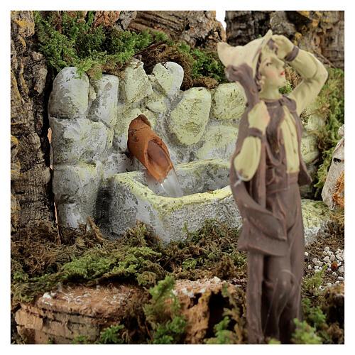 Ambientazione presepe fontana funzionante 21x24x21 cm statue 10 cm 5