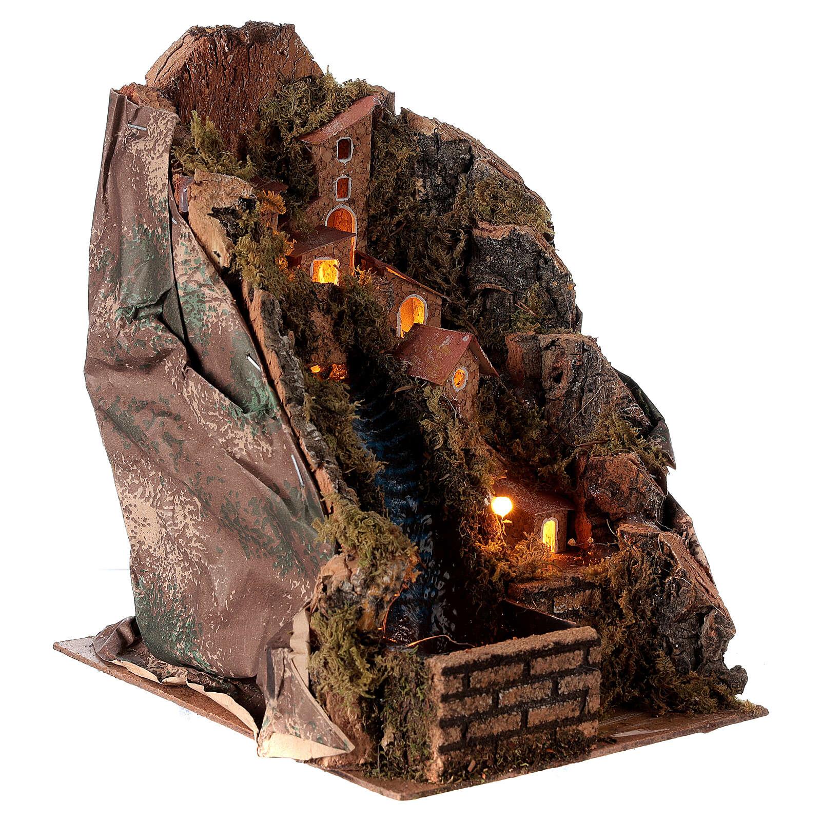 Pueblo iluminado con arroyo 20x15x20 cm belén 8-10 cm 4