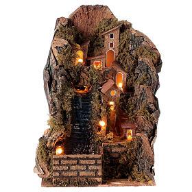Pueblo iluminado con arroyo 20x15x20 cm belén 8-10 cm s1