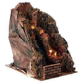 Pueblo iluminado con arroyo 20x15x20 cm belén 8-10 cm s3