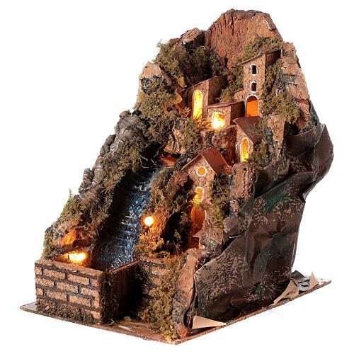 Pueblo iluminado con arroyo 20x15x20 cm belén 8-10 cm 2
