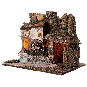 Illuminated hut with water mill 35x45x30 cm for Nativity scenes 10 cm s2