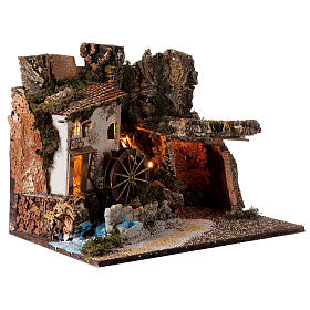 Illuminated hut with water mill 35x45x30 cm for Nativity scenes 10 cm s3