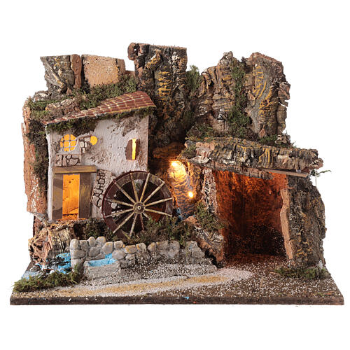 Illuminated hut with water mill 35x45x30 cm for Nativity scenes 10 cm 1