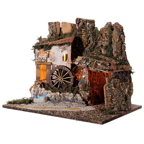 Illuminated hut with water mill 35x45x30 cm for Nativity scenes 10 cm 2