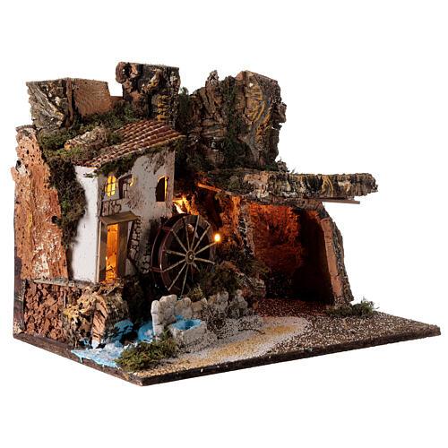 Capanna illuminata con mulino ad acqua 35x45x30 cm presepe 10 cm 3