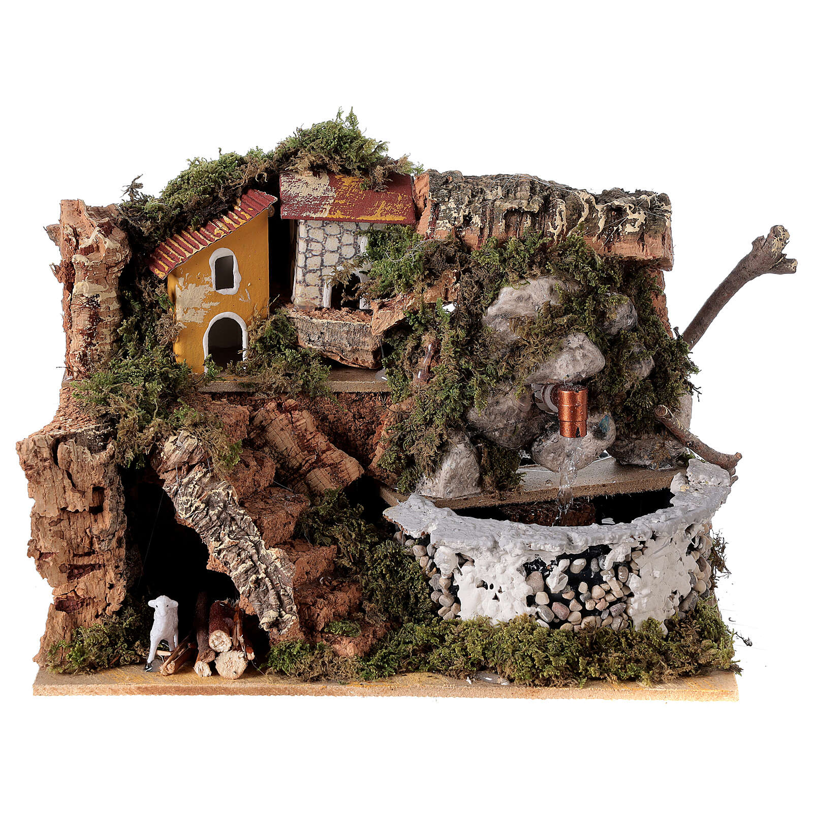 Stone Nativity scene fountain 15x20x15 cm for Nativity scenes 8-10 cm 4
