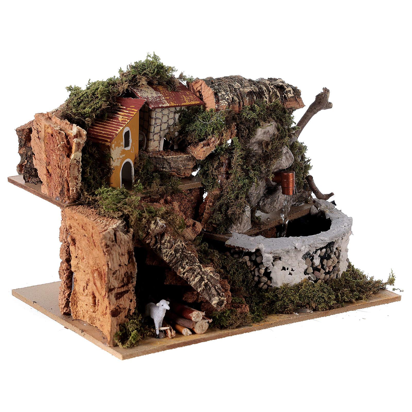 Fontaine crèche en pierre 15x20x15 cm pour crèche 8-10 cm 4
