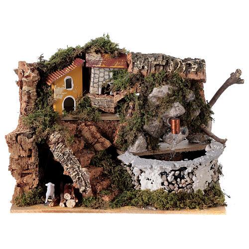 Fontaine crèche en pierre 15x20x15 cm pour crèche 8-10 cm 1