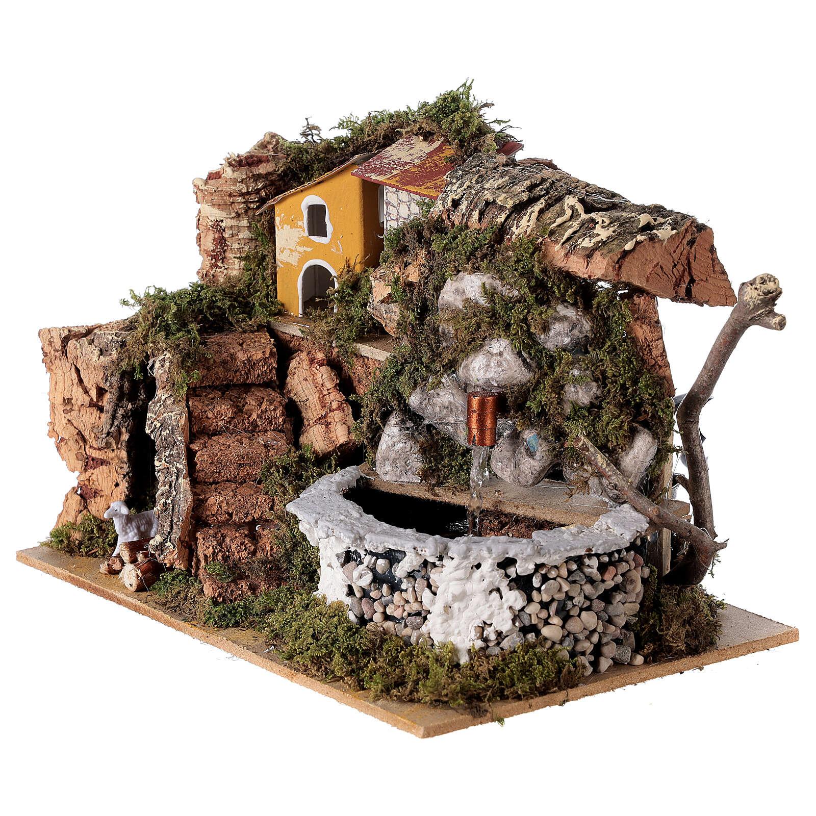 Fontana presepe in pietra 15x20x15 cm per presepi 8-10 cm 4