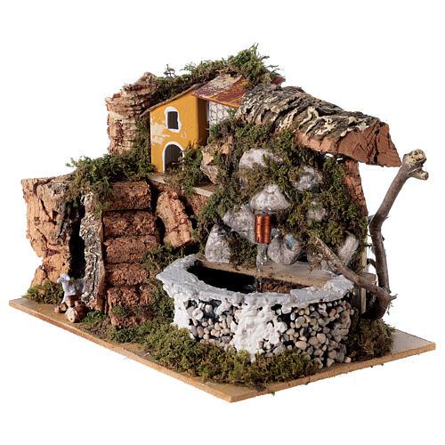 Fontana presepe in pietra 15x20x15 cm per presepi 8-10 cm 2